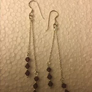 Jewelry - Signed MC 925 earrings with purple stones